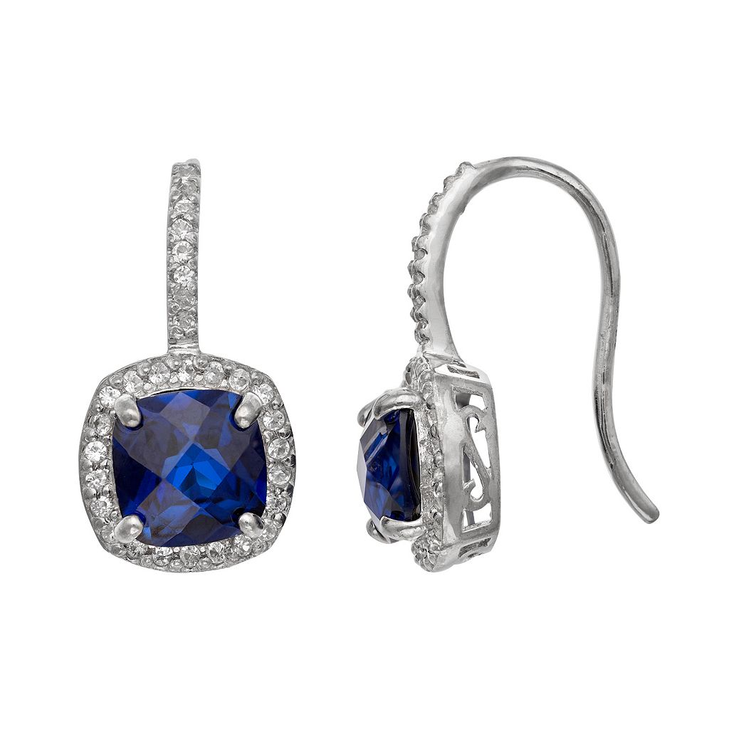 Sterling Silver Lab-Created Blue & White Sapphire Halo Drop Earrings