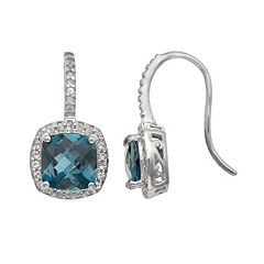Sterling Silver London Blue Topaz & Lab-Created White Sapphire Halo Drop Earrings