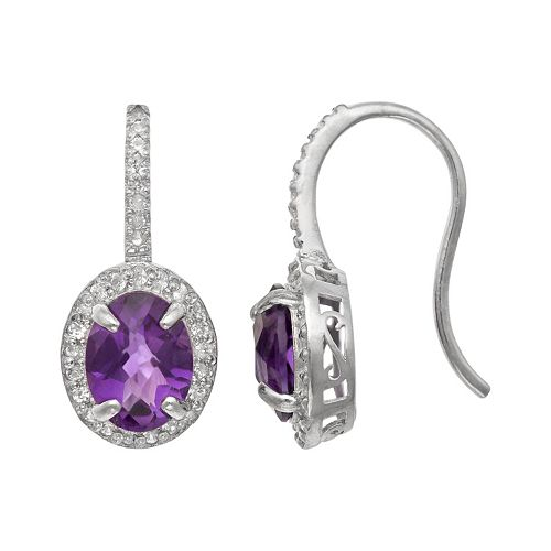 Sterling Silver Amethyst & Lab-Created White Sapphire Halo Drop Earrings