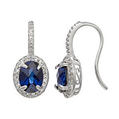 Sterling Silver Lab-Created Sapphire & Lab-Created White Sapphire Halo Drop Earrings