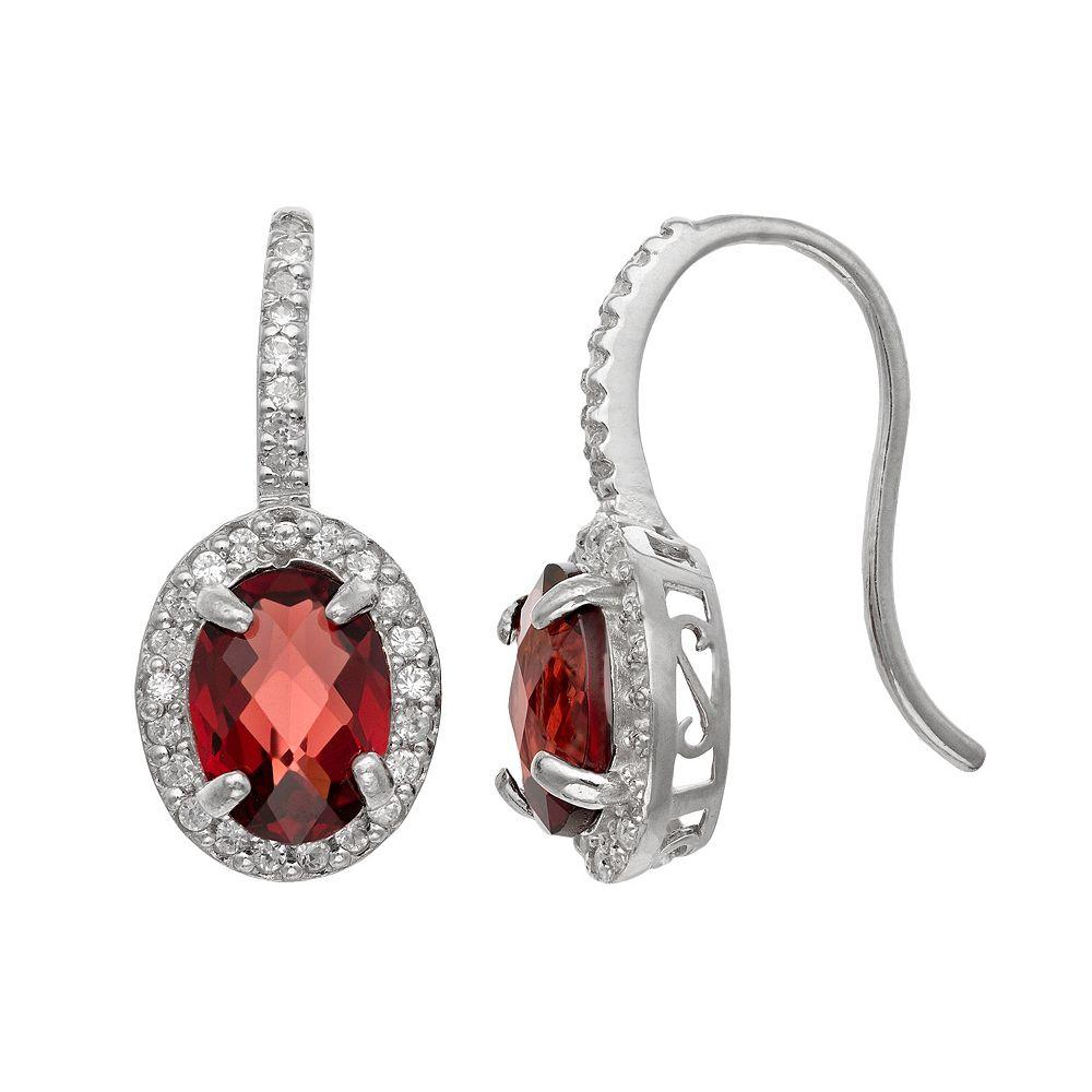 Sterling Silver Garnet & Lab-Created White Sapphire Halo Drop Earrings