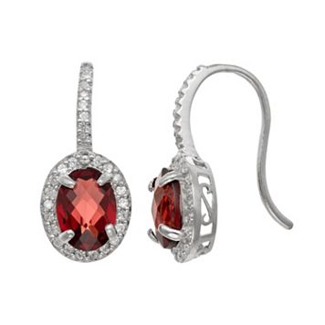 Sterling Silver Garnet & Lab-Created White Sapphire Halo Drop Earrings