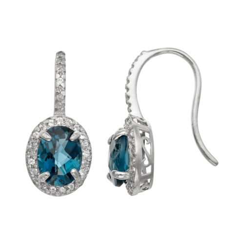 Sterling Silver London Blue Topaz and Lab-Created White Sapphire Halo Drop Earrings
