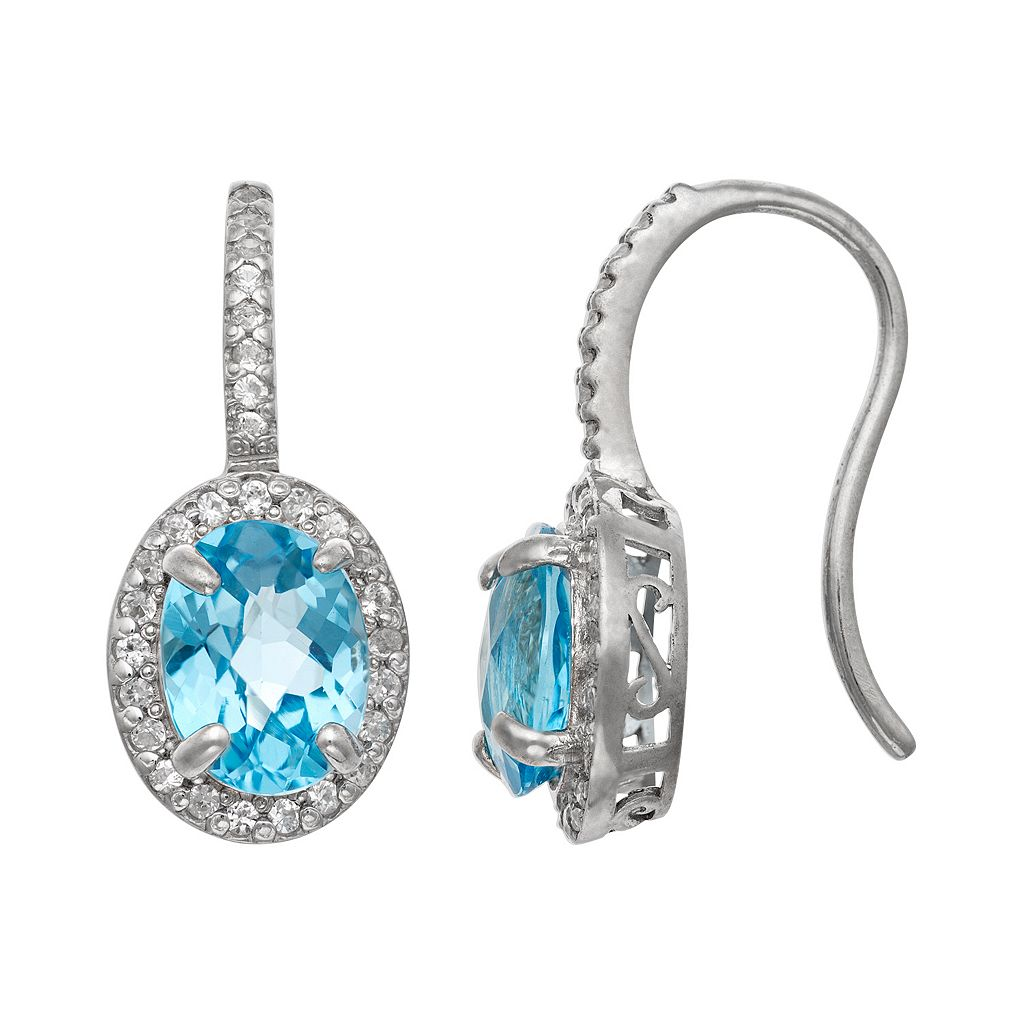 Sterling Silver Swiss Blue Topaz & Lab-Created White Sapphire Halo Drop Earrings