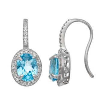 Sterling Silver Swiss Blue Topaz and Lab-Created White Sapphire Halo Drop Earrings