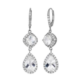 Lab-Created White Sapphire Sterling Silver Linear Drop Earrings