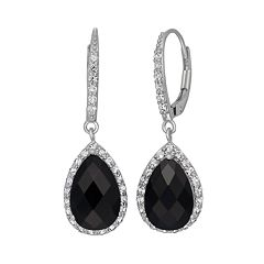 Onyx & Lab-Created White Sapphire Sterling Silver Halo Teardrop Earrings