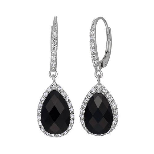 Onyx & Lab-Created White Sapphire Sterling Silver Halo Teardrop Earrings