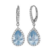 Lab-Created Aquamarine & Lab-Created White Sapphire Sterling Silver Halo Teardrop Earrings