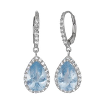 Lab-Created Aquamarine and Lab-Created White Sapphire Sterling Silver Halo Teardrop Earrings
