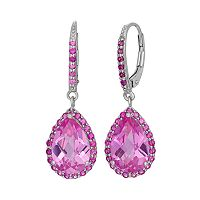 Lab-Created Pink Sapphire & Lab-Created Ruby Sterling Silver Halo Teardrop Earrings