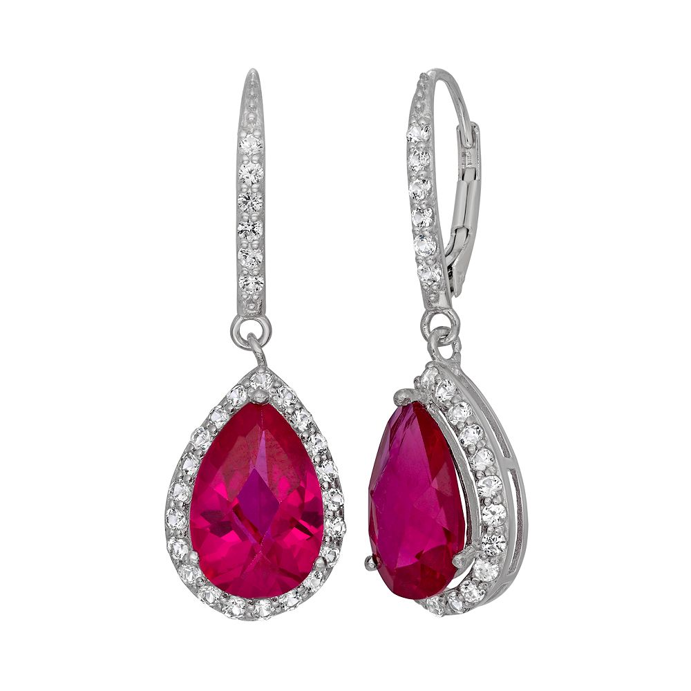 Lab-Created Ruby & Lab-Created White Sapphire Sterling Silver Halo Teardrop Earrings