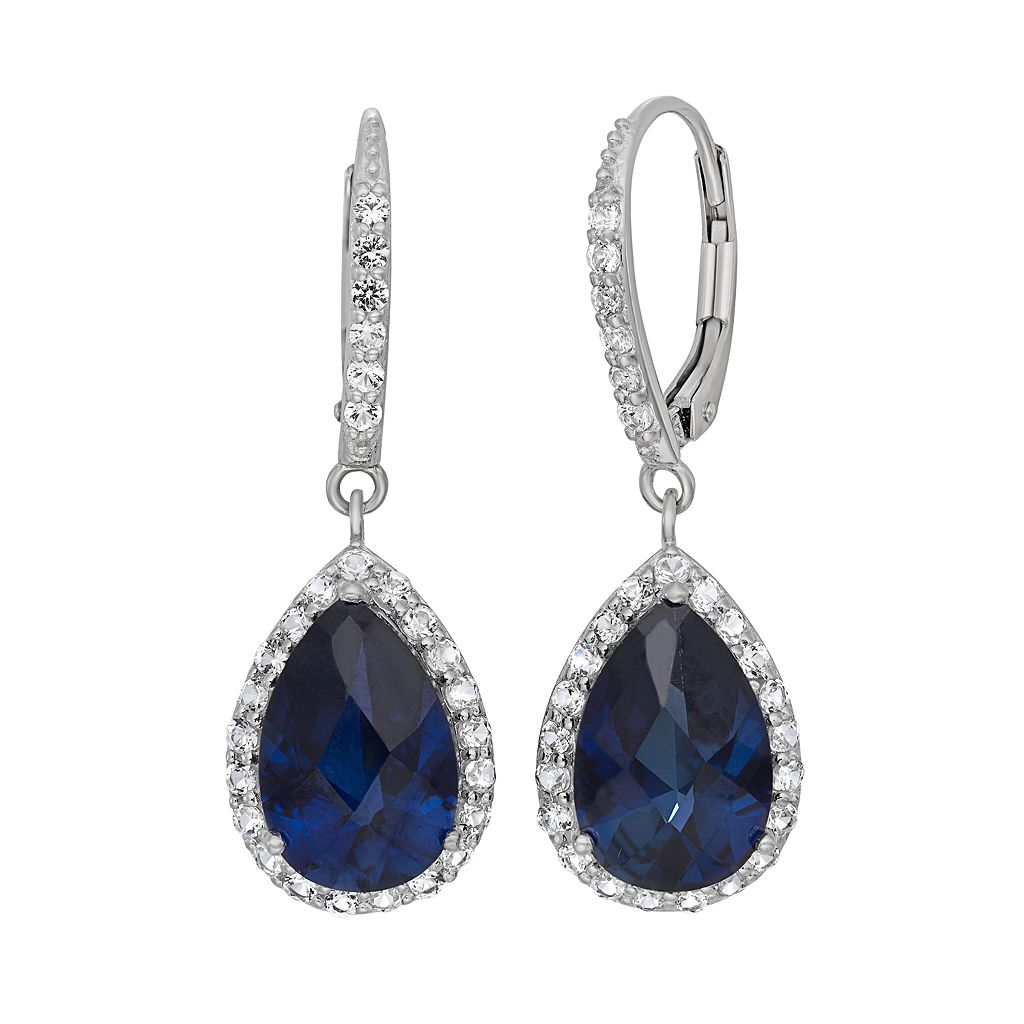 Lab-Created Blue & White Sapphire Sterling Silver Halo Teardrop Earrings