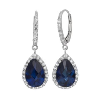 Lab-Created Blue and White Sapphire Sterling Silver Halo Teardrop Earrings