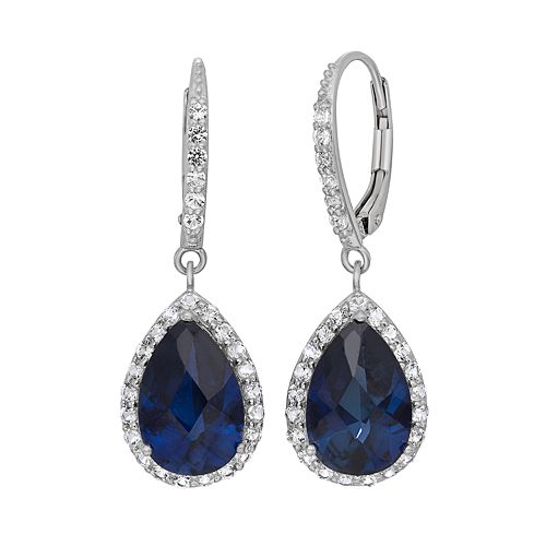 Lab-Created Blue & White Sapphire Sterling Silver Halo Teardrop Earrings