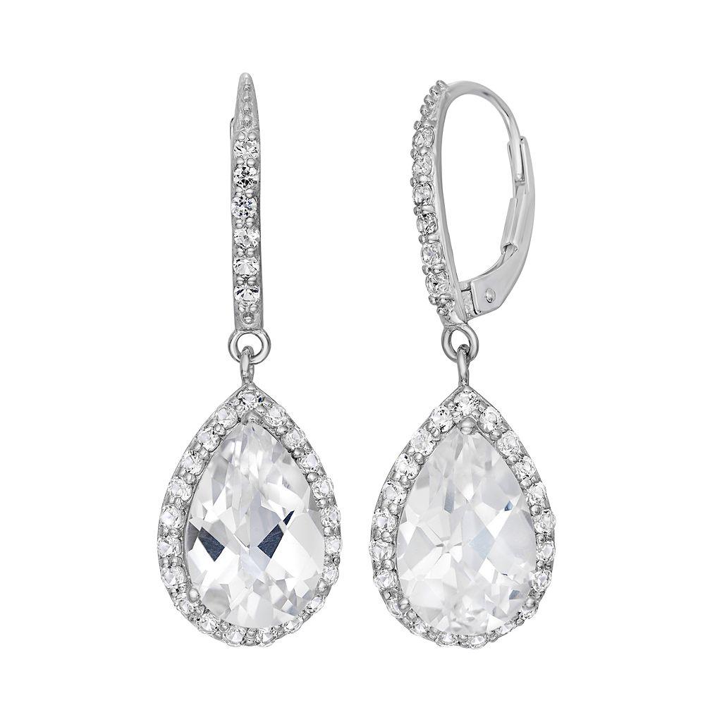Lab-Created White Sapphire Sterling Silver Halo Teardrop Earrings