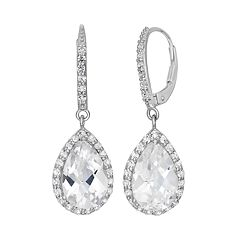 Lab-Created White Sapphire Sterling Silver Halo Teardrop Earrings