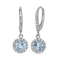 Lab-Created Aquamarine & Lab-Created White Sapphire Sterling Silver Halo Drop Earrings