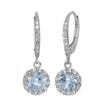 Lab-Created Aquamarine and Lab-Created White Sapphire Sterling Silver Halo Drop Earrings