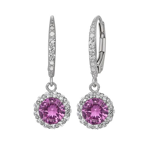 Lab-Created Pink & White Sapphire Sterling Silver Halo Drop Earrings