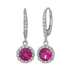 Lab-Created Ruby & Lab-Created White Sapphire Sterling Silver Halo Drop Earrings