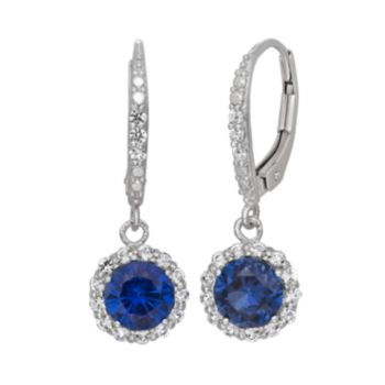 Lab-Created Blue and White Sapphire Sterling Silver Halo Drop Earrings