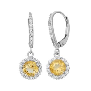 Citrine and Lab-Created White Sapphire Sterling Silver Halo Drop Earrings