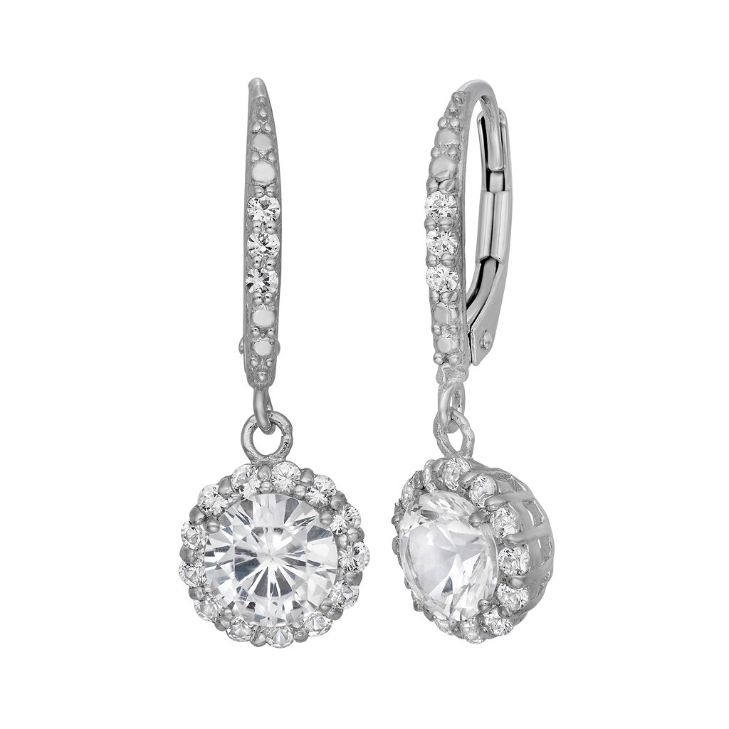 Lab-Created White Sapphire Sterling Silver Halo Drop Earrings