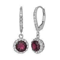 Garnet & Lab-Created White Sapphire Sterling Silver Halo Drop Earrings