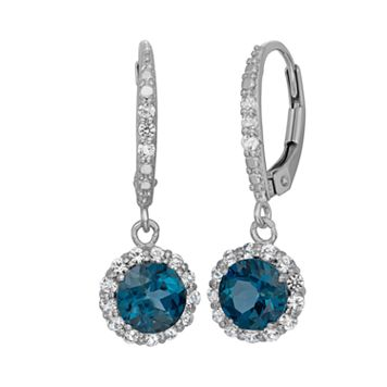 London Blue Topaz & Lab-Created White Sapphire Sterling Silver Halo Drop Earrings