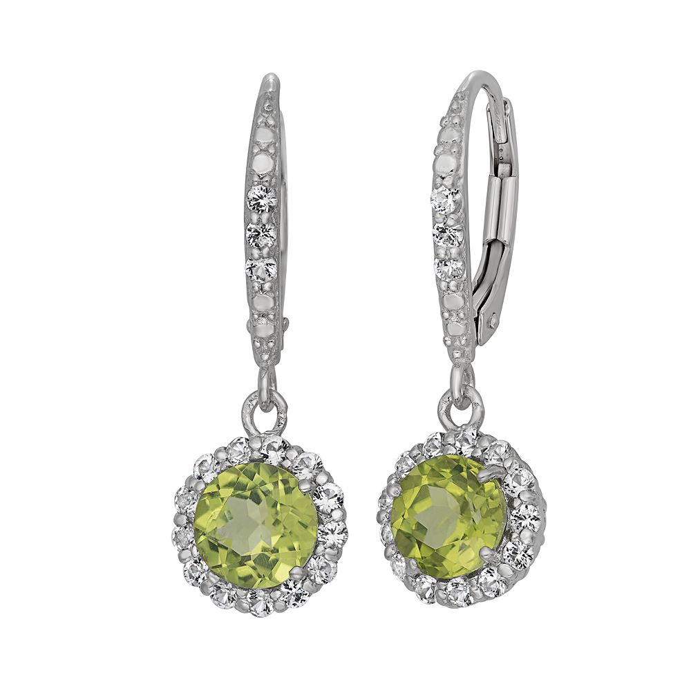 Peridot & Lab-Created White Sapphire Sterling Silver Halo Drop Earrings