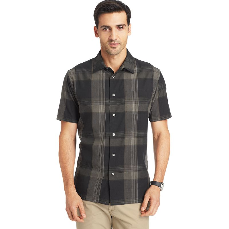 Van heusen morocco plaid casual button down shirt big for Field and stream fishing shirts