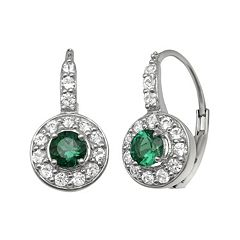 Lab-Created Emerald & Lab-Created White Sapphire Sterling Silver Halo Drop Earrings