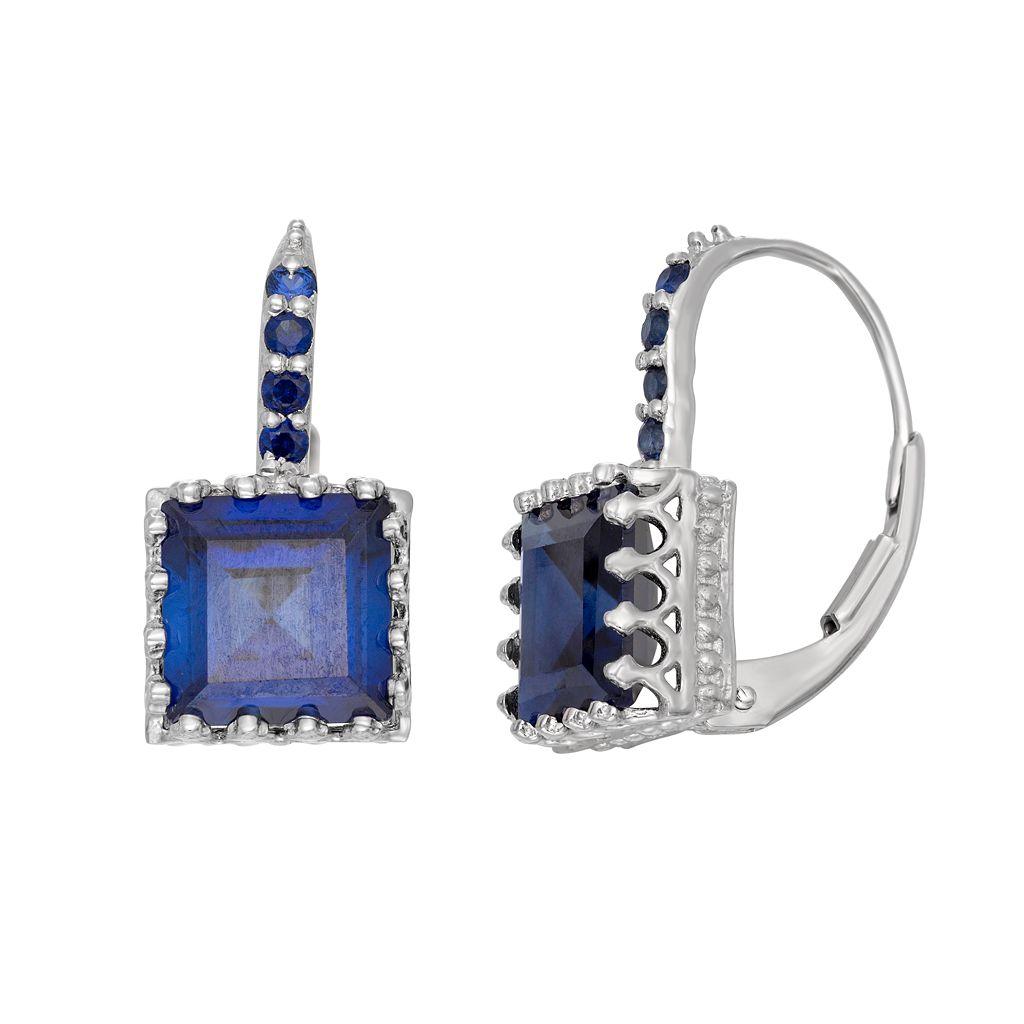 Lab-Created Sapphire Sterling Silver Crown Drop Earrings
