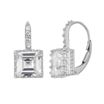 Lab-Created White Sapphire Sterling Silver Crown Drop Earrings