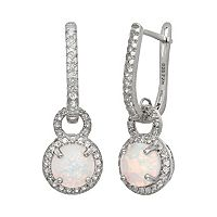 Sterling Silver Lab-Created Opal & Lab-Created White Sapphire Halo Drop Earrings