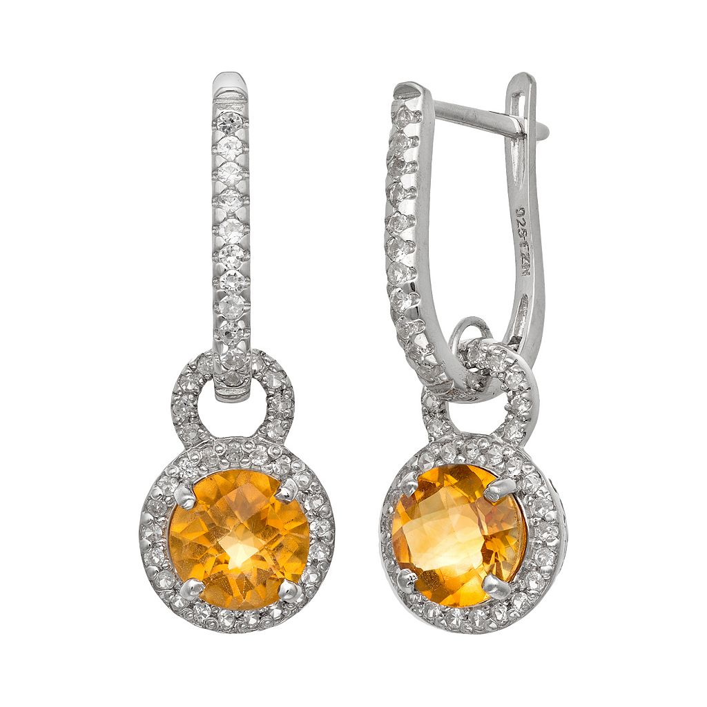 Sterling Silver Citrine & Lab-Created White Sapphire Halo Drop Earrings
