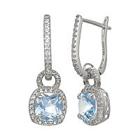 Sterling Silver Lab-Created Aquamarine & Lab-Created White Sapphire Square Halo Drop Earrings