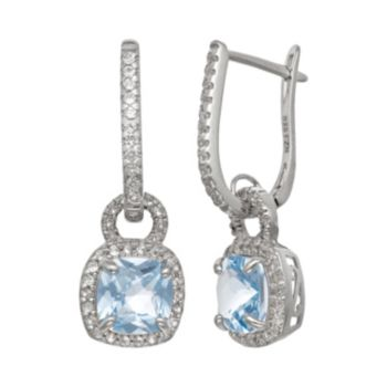 Sterling Silver Lab-Created Aquamarine and Lab-Created White Sapphire Square Halo Drop Earrings