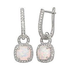 Sterling Silver Lab-Created Opal & Lab-Created White Sapphire Square Halo Drop Earrings