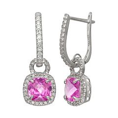 Sterling Silver Lab-Created Pink & White Sapphire Square Halo Drop Earrings