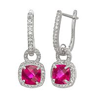Sterling Silver Lab-Created Ruby & Lab-Created White Sapphire Square Halo Drop Earrings