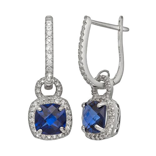 Sterling Silver Lab-Created Blue & White Sapphire Square Halo Drop Earrings