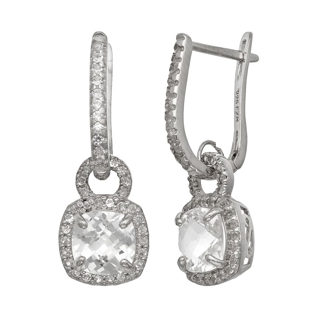 Sterling Silver Lab-Created White Sapphire Square Halo Drop Earrings
