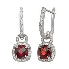 Sterling Silver Garnet & Lab-Created White Sapphire Square Halo Drop Earrings