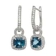 Sterling Silver London Blue Topaz & Lab-Created White Sapphire Square Halo Drop Earrings