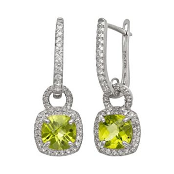 Sterling Silver Peridot & Lab-Created White Sapphire Square Halo Drop Earrings
