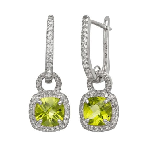 Sterling Silver Peridot and Lab-Created White Sapphire Square Halo Drop Earrings