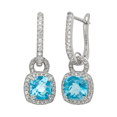 Sterling Silver Swiss Blue Topaz & Lab-Created White Sapphire Square Halo Drop Earrings