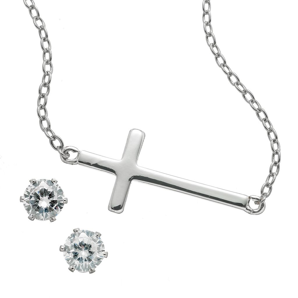 Silver Tone Simulated Crystal Sideways Cross Necklace & Stud Earring Set